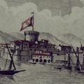 Veduta della parte del Molo di Livorno detto l'Anelli