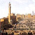 Veduta diurna della Piazza del Campo a Siena col Palio in corso in onore di Francesco Stefano e Maria Teresa d'Austria