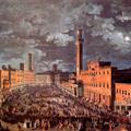 Veduta notturna di Piazza del Campo a Siena con la fiaccolata