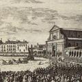 Veduta della Chiesa e Piazza di S. Maria Novella con la festa della Corsa de' Cocchi