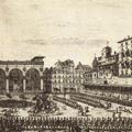 Veduta del Palazzo Vecchio del P.D. della Loggia e della Piazza con la Festa degli Omaggi nella solennità di S. Gio. Battista protettore della Città