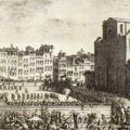 Veduta della Chiesa, e Piazza di S. Croce con la festa del Calcio fatta l'anno 1738 alla Real presenza de' Regnanti Sovrani