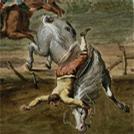 Cavaliere disarcionato in un'immagine acquerellata del XVIII secolo