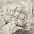 Nave sul mare in tempesta, incisione del XVIII secolo