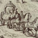 Personaggi in carrozza in un'incisione settecentesca dello Zocchi