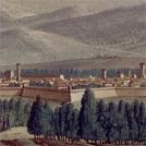 Veduta dei bastioni di Lucca da un'immagine settecentesca a colori