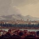 Incisione settecentesca a colori con veduta di Lucca
