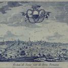 Incisione settecentesca con veduta di Siena da Porta Romana